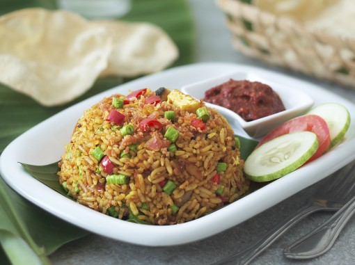 素叁峇虾米炒饭<br>Vegetarian Shrimp Sambal Fried Rice