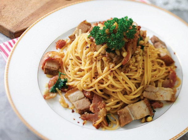 培根烧肉意大利<br> Bacon and Roasted Pork Spaghetti
